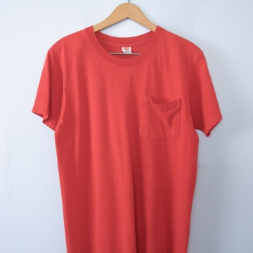 Vintage 80's plain red tee shirt with pocket, men's size medium