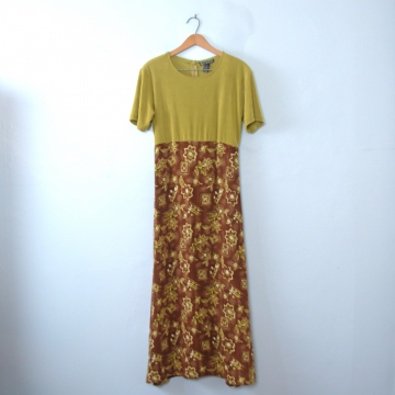 Vintage 90's grunge maxi dress, size medium
