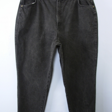 Vintage 80's Chic black denim high waisted mom jeans, tapered leg, women's size 26 / 24