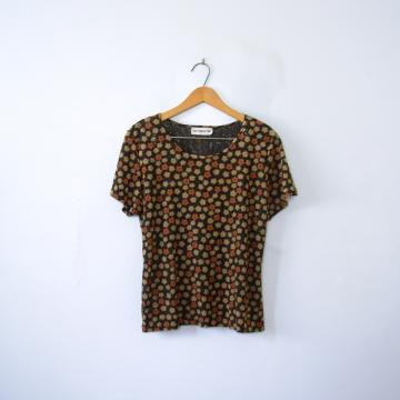 Vintage 90's grunge floral sheer tee shirt, women's size medium