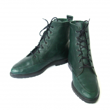 Vintage 90's hunter green hiking boots, leather ankle boots, women's size 8.5