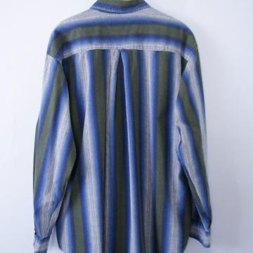 Vintage 90's striped color block button up denim shirt, men's size large
