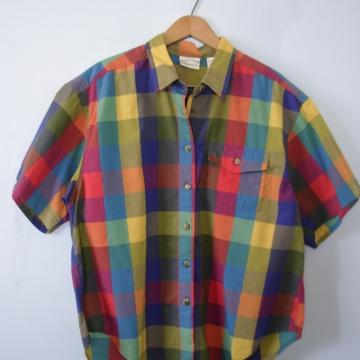 Vintage 90's bright colorful plaid blouse, women's size large