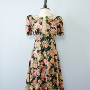 80's floral button up dress, women's size small