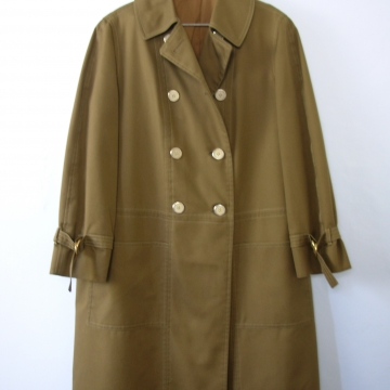 Vintage 60's olive green swing trench coat, women's size 14 / 12