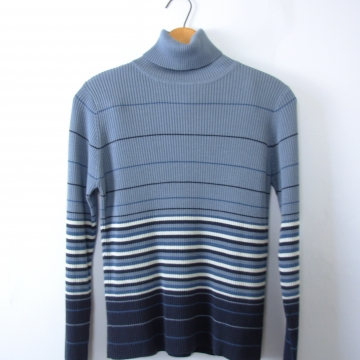 Vintage 90's blue striped turtleneck, ribbed knit long sleeved top, size small