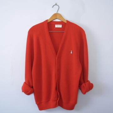 70's red cardigan sweater, men's size medium