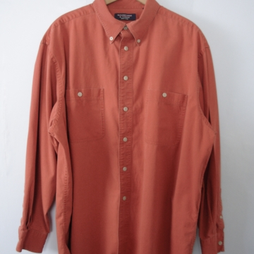 Vintage 90's pumpkin spice cinnamon orange button up shirt, men's size XL
