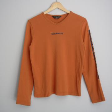 90's Abercrombie orange long sleeved shirt, women's size large