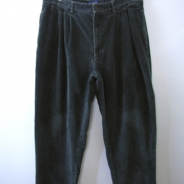 Vintage 90's dark teal blue pleated corduroy pants with cuff, men's size 38 / 36