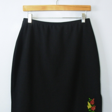 90's black mini skirt with side slit, women's medium