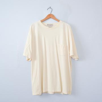 90's pale yellow pocket tee shirt, men's size XL