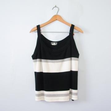 90's black and white striped tank top, women's size 2XL