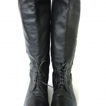 Vintage 80's black faux riding boots, leather knee high boots, women's size 10 / 9