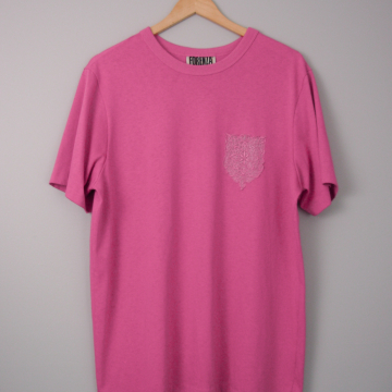 80's plain pink tee shirt with pocket, size medium