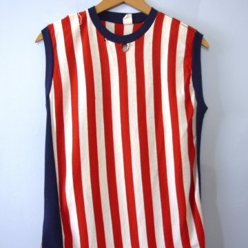 Vintage 70's American flag distressed tank top, men's size medium
