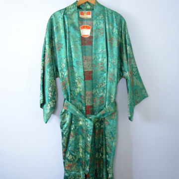 Vintage 90's Chinese robe, faux silk embroidered teal blue robe, one size fits most