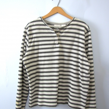 Vintage 90's striped henley shirt, grey and black long sleeved tee, women's size XL