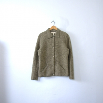Vintage 90's grey knit wool jacket, women's size small