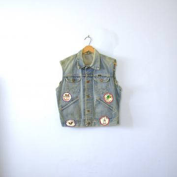 Vintage 70's Wrangler distressed denim vest with punk patches, men's size 42 / large