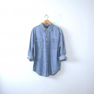 Vintage 90's denim shirt, chambray button up shirt, size medium