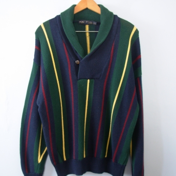 Vintage 90's Nautica striped colorblock sweater with shawl collar, men's size medium