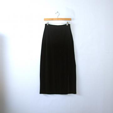 Vintage 90's long black velvet skirt with side slit, size small / medium