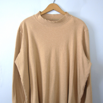 Vintage 90's plain beige mock turtleneck long sleeved shirt, women's size XXL