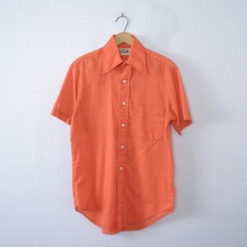 Vintage 70's pumpkin orange button up short sleeved shirt, men's size small