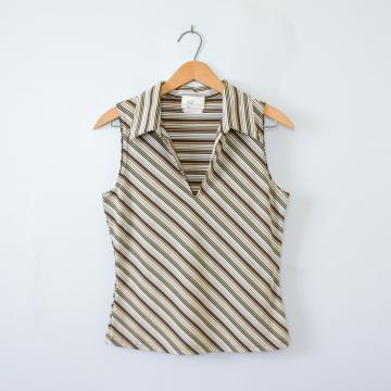 90's striped sleeveless blouse tank top, women's size medium