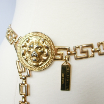 Vintage 90's The Limited gold lion greek key chain belt, size medium / small
