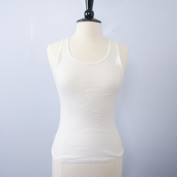 Vintage 90's ribbed knit white tank top, women's size small