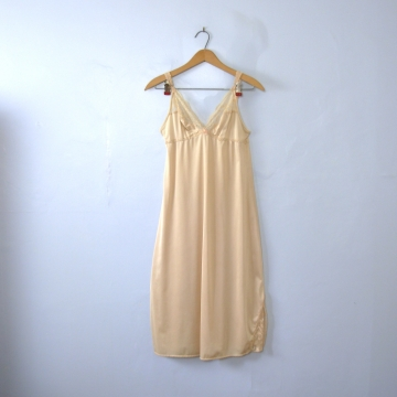 Vintage 70's empire waist champagne slip dress with side slit, women's size small / medium