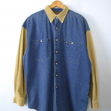 Vintage 90's denim shirt with corduroy sleeves, chambray button up, size large