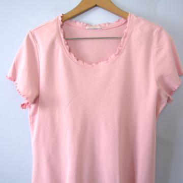 Vintage 90's pastel pink cropped top shirt with ruffles, women's size medium