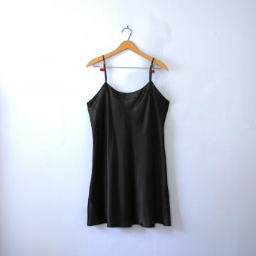 Vintage 90's silky black slip dress, women's size large