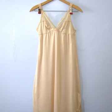 Vintage 70's empire waist champagne slip dress with side slit, women's size small / medium
