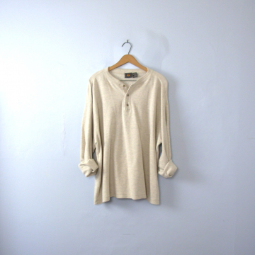 Vintage 90's grunge henley shirt, long sleeved off white henley, size XL