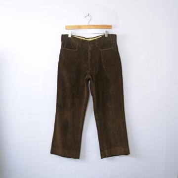 Vintage 70's dark brown corduroy pants, straight leg men's size 34 short