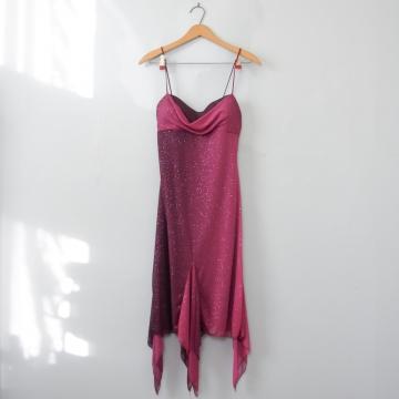 Y2K sparkly ombre purple mini dress with handkerchief hem, women's small / xs