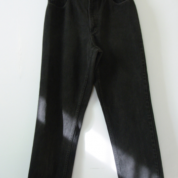 90's LL Bean black denim high waisted jeans with straight leg, women's size 12 / 14
