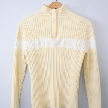 90's Tommy Hilfiger ribbed knit yellow sweater, women's size large / medium