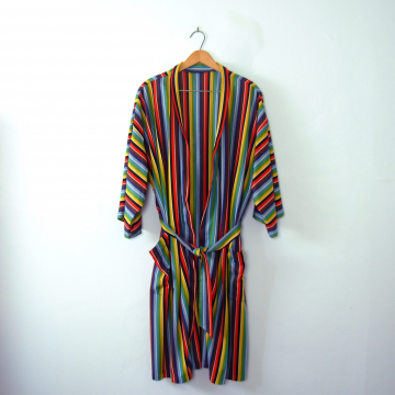 Vintage 70's rainbow robe, colorful bright striped robe, one size fits most