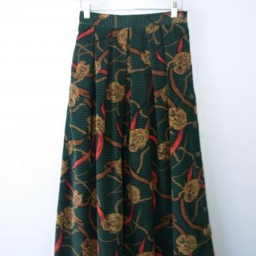 Vintage 90's green corduroy pleated midi skirt, size 6