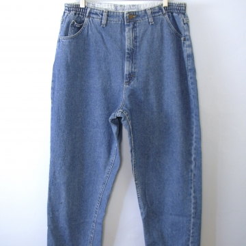 Vintage 80's Lee high waisted jeans, blue denim mom jeans with elastic waist, women's size 18 / 16 short