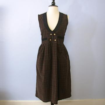 Vintage 90's black plaid corduroy jumper midi dress with pockets, women's size large