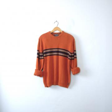 Vintage 90's pumpkin orange sweater, grunge sweater, oversized sweater, size large