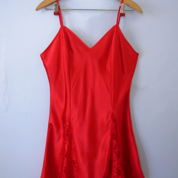 Vintage 90's Victoria's Secret silky red slip dress, women's size medium