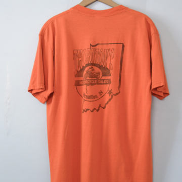 90's distressed Thornton's Indiana motorcycle tee shirt, men's size large