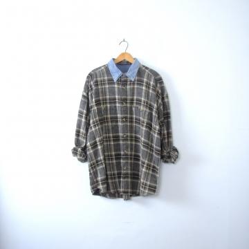 Vintage 90's grunge grey flannel plaid shirt, size XXL